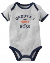 Baby Boy Print Grey Slogan Boss Short Sleeve Cotton Bodysuit