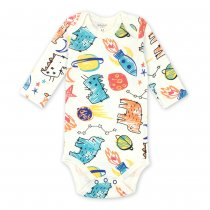 Baby Boy Print Scrawl Space Long Sleeve Cotton Bodysuit