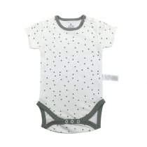 Baby Boy Print Grey Dots Short Sleeve Cotton Bodysuit