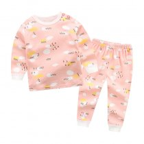 Toddler Girl 2 Pieces Pajamas Sleepwear Pink Weather Long Sleeve Shirt & Legging Sets