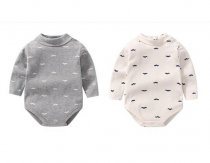 Baby Boy Beard High Collar Long Sleeve Cotton Bodysuit