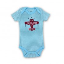 Baby Boy Blue Stripes Print Red Airplane Short Sleeve Cotton Bodysuit