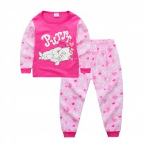 Toddler Girl 2 Pieces Pajamas Sleepwear Pink Cat Long Sleeve Shirt & Legging Sets