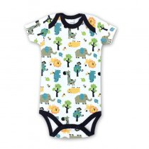 Baby Boy Print Animals Short Sleeve Cotton Bodysuit