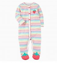 Baby Girl Snap-Up Colorful Stripes Footed Cotton Long Sleeve One piece (0-1Years)