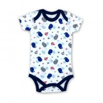 Baby Boy Print Blue Dolphins Short Sleeve Cotton Bodysuit