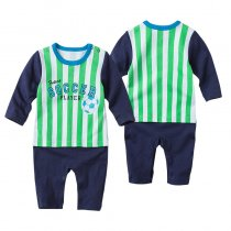 Baby Boy Snap-Up Print Soccer Cotton Long Sleeve One piece