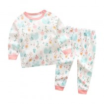 Toddler Girl 2 Pieces Pajamas Sleepwear Pink Flowers Long Sleeve Shirt & Legging Sets
