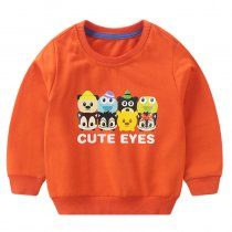 Toddler Boy Print and Slogan Cute Eyes Sleeve Sweatshirt