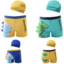 Kid Boys Print 3D Dinosaur  Swimwear Trunks  Swim Boxer Shorts With Swim Cap
