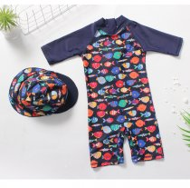 Kid Boys Print Color Fish Swimsuit With Swim Cap