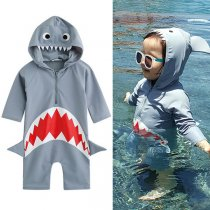 Toddler Boys 3D Shark Grey Swimsuit