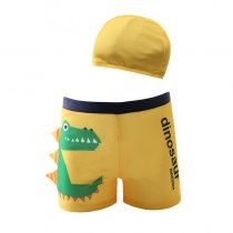 Kid Boys Print 3D Crocodile  Swimwear Trunks  Swim Boxer Shorts With Swim Cap