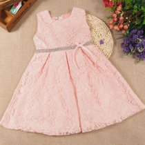 Girls Lace Bright Diamond Princess Gown Dress