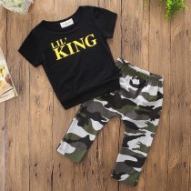 Boys Print King T-shirts and Camouflage Pant Two-Piece Outfit