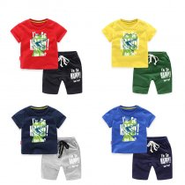 Boys Print Dinosaur T-shirts and Slogan Short Two-Piece Outfit