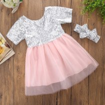 Girls Silver Sequins Tutu Bowknot Pink Lace Short Sleeves Princess Dress With Headhand