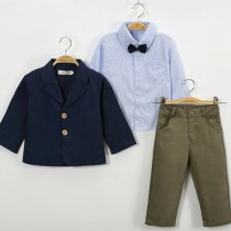 Boys 4-Piece Outfits Blue Long Sleeves Shirt Match Suits and Khaki Pant Dressy Up Clothes