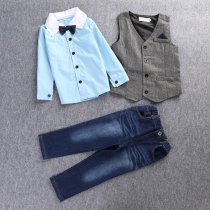 Boys 4-Piece Outfits Blue Long Sleeves Shirt Match Vest and Jeans Pant Dressy Up Clothes