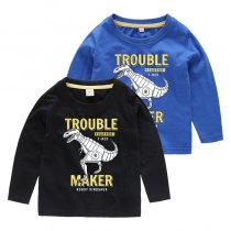 Boys Prints Robot Dinosaur Long Sleeves Tee