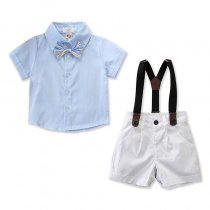 Boys 3-Piece Outfits Short Sleeves Shirt and Suspender Shorts Dressy Up Clothes