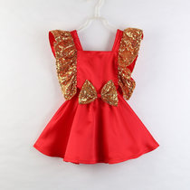 Girls Gold Sequins Bowknot Ruffles Gowns Dress