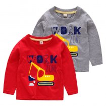 Boys Prints Cartoon Mechanical Digger Long Sleeves Tee