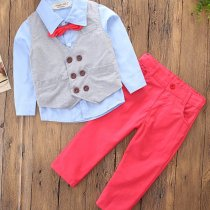 Boys 4-Piece Outfits Blue Long Sleeves Shirt Match Vest and Red Pant Dressy Up Clothes