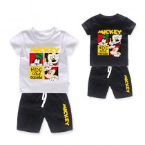 Boys Print Mickey T-shirts and Short Two-Piece Outfit