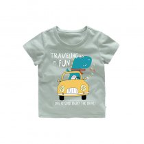 Boys Prints Cartoon Dinosaur and Car T-shirt