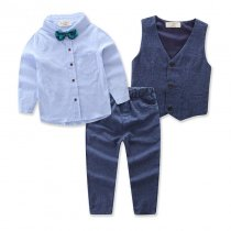 Boys 4-Piece Outfits Blue Long Sleeves Shirt Match Denim Vest and Jeans Pant Dressy Up Clothes