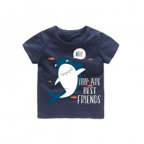 Boys Prints Shark Fish T-shirts