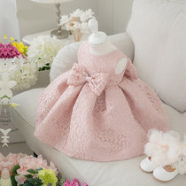 Girls Lace Bowknots Princess Gown Dress
