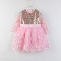 Girls Gold Sequins Pink Lace Princess Dress