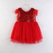 Girls Feather Sequin Tutu Dress