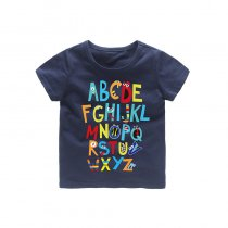 Boys Colorful 26 Letters A-Z Prints T-shirts