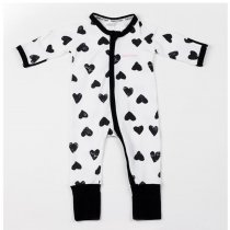 Baby Boy Zip-Up Print Black Hearts Cotton Long Sleeve One piece