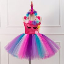 Girl Red Crocheted Flowers Tutu Dress With Unicorn Hair-band