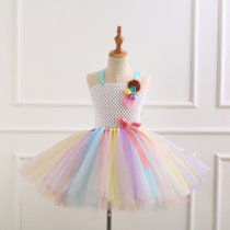 Girl Crocheted Flowers Tutu Dress With Unicorn Hair-band