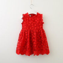 Girls Red Lace Embroidery Flowers Sleeveless Dress