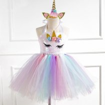Girl Sequins Print Flowers Crown Tutu Dress With Unicorn Hair-band