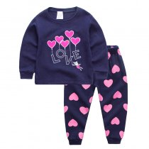 Toddler Girl Purple Love HeartsPajamas Sleepwear 2 Pieces