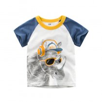 Boys Print Cute Rhinoceros T-shirt