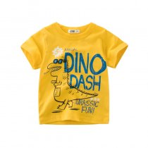 Boys Print Slogan and Cute Dinosaur T-shirt