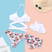 Mommy and Me Print flamingo Family Matching Bikini
