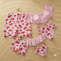 Family Matching Swimwear Print Watermelon Cut Out Bikini Set and Truck Shorts