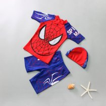 Kid Boys Print Spiderman Swimwear Set Short Top and Truck With Swim Cap