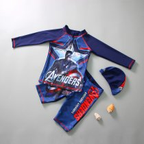 Kid Boys Print Captain America Swimwear Sets Long Sleeves Top and Truck With Swim Cap
