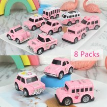 8 PCS Model Cartoon Vehicles Alloy Pull Back Toy Cars 1/48 Scale For 3Y+ Kids