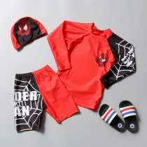 Kid Boys Print Spiderman Swimwear Sets Long Sleeves Top and Truck With Swim Cap